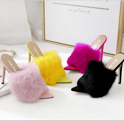 Womens Fluffy Sandals Stiletto High Heels Slippers Cocktai Party Shoes UK • 27.99£