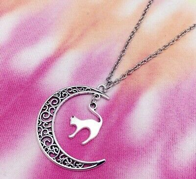 Cat Pendant Necklace Chain Silver Moon Jewellery Vintage Style Ladies Girls UK • 3.95£