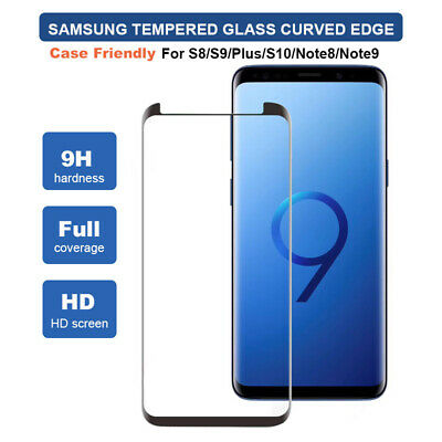 AU7.55 • Buy Samsung Galaxy S8 S9 S10+ Note 8 9 Curved Edge Tempered Glass Screen Protector