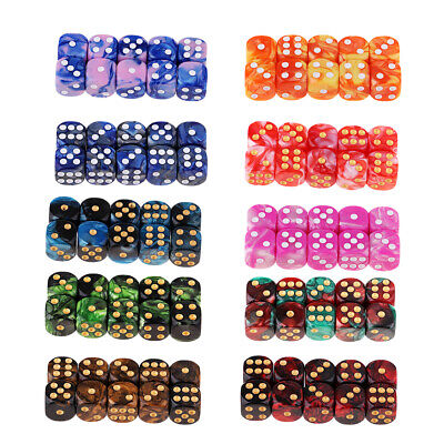 AU9.97 • Buy 10Pcs Six Sided Square Opaque D6 16mm Dice Die Multi-Color White/Gold Pip