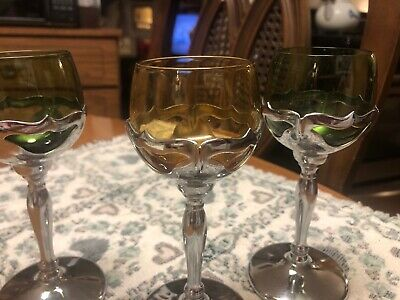 $24.99 • Buy 3 Farber Bros Krome Kraft Chrome Amber & Green Cambridge Glass Goblets Art Deco