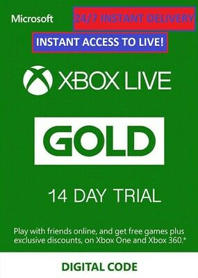 $ CDN5.11 • Buy Xbox Live 14 Day (2 Weeks) Gold Trial Membership Code Instant Delivery 24/7