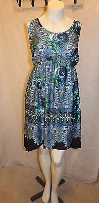 $10.99 • Buy Live And Let Live Sleeveless Maxi Summer Stretch Dress Blue Green Floral Size 2X