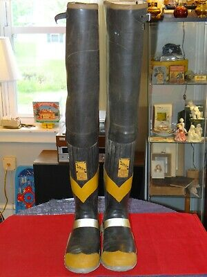 $51 • Buy Vintage Siren UNIROYAL Fireman HIP Turnout Boots Steel Shank & Toe Mens Size 9