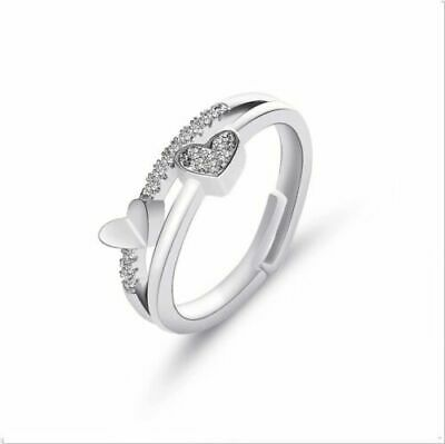 £2.99 • Buy 925 Sterling Silver Plated Diamond Heart Couple Rings Crystal Engagement Gift