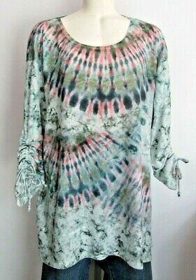 $12.99 • Buy Live And Let Live Womens Size 1X Top Blouse Tunic Tie Dye Pattern Ruched Sleeve