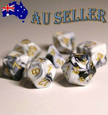 AU10.98 • Buy Dice Set 7 Piece Pearl Dungeons & Dragons Polyhedral Black & White Swirl Dnd RPG