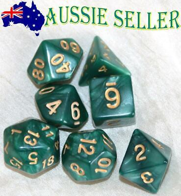AU8.98 • Buy Dice Set Polyhedral Dungeons & Dragons 7 Piece Pearl Green & Gold DnD RPG + Bag