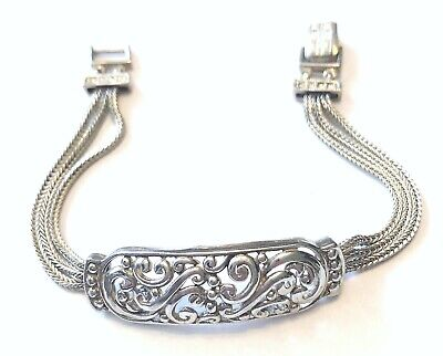 $58 • Buy VTG STERLING SILVER (925) Triple Square Foxtail Chain W/ Scroll Plaque BRACELET