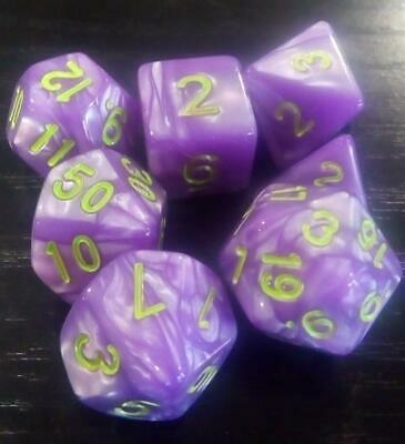 AU8.98 • Buy Dice Set For Dnd Dungeons & Dragons Purple & Green 7 Piece Pearl Polyhedral