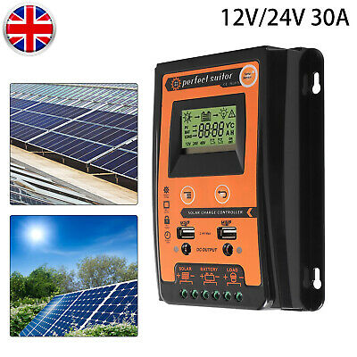 30A MPPT Solar Charge Controller Panel Battery Regulator 2 USB 12/24V Automatic • 19.18£