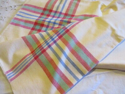 Summer Tablecloth Fabric Vintage French1950's Butter Yellow And Coloured Checked • 10£