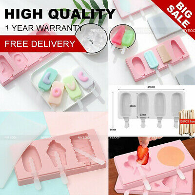 Silicone Ice Cream Cake Mold Ice Lolly Baking Frozen Mould Tray DIY Kitchen Tool • 5.55£