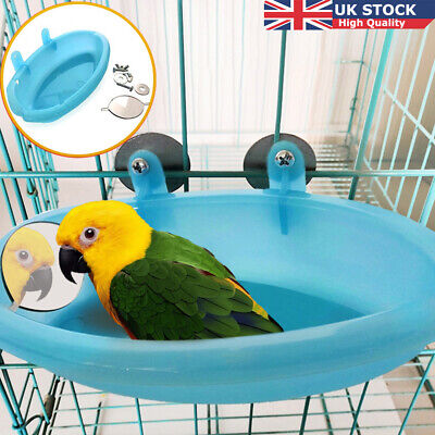 Mini Plastic Bird Bath Basin With Mirror Pet Parrot Bathtub Birds Carrier 2020. • 3.98£
