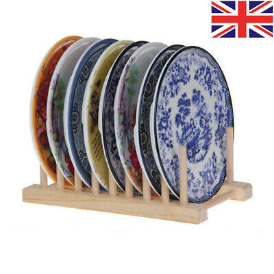 1Pc Wooden Dish Rack Kitchen Storage Drying Rack Drainer Plate Cups Holder • 6.49£