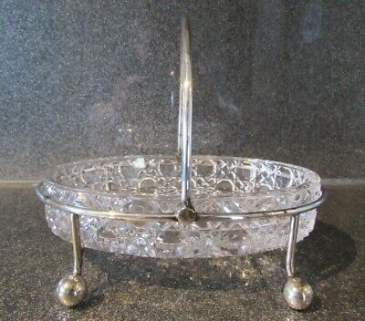 Vintage Handled / Footed Silver Plated Butter Dish With Glass Liner  • 12£