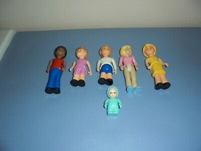 $30 • Buy Vintage Little Tikes Blue Roof Doll House Family Twist Dolls LOT OF 6 Baby