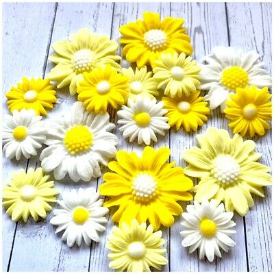 £4.99 • Buy Edible Yellow And White Sugar Daisies Flowers Cake Decoration Cupcake Toppers