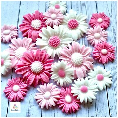 £4.99 • Buy Edible Pink And White Sugar Daisies Flowers Cake Decoration Cupcake Toppers