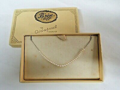 $95 • Buy Vintage Add A Pearl Necklace Original Box 10k White Gold 31 Graduated Pearls 15