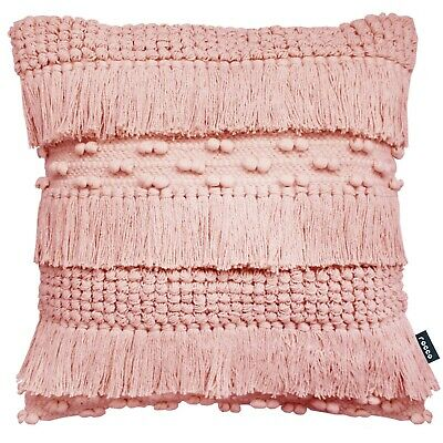 £12.99 • Buy Indian Tassels Pom Pom Boho Thick Cotton Zen Pink 17  Cushion Cover£12.99 Ea