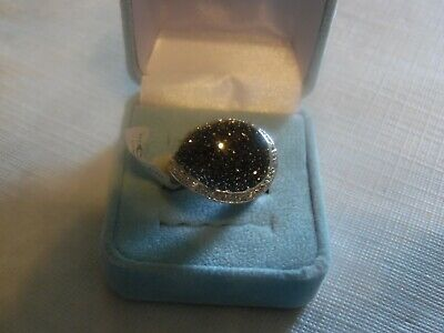 $ CDN13.33 • Buy Lia Sophia Silver Colored With Black CZs  Showcase  Ring Size 9 NWT