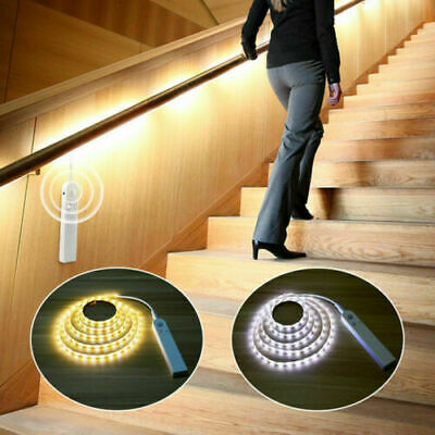 $8.99 • Buy Battery Powered LED Strip Lights PIR Motion Sensor Closet Stair Wardrobe Lamp US
