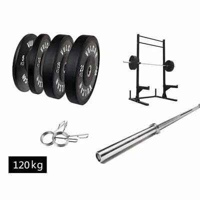 AU1899 • Buy Squat Rack, Olympic Barbell (20kg/ 7ft), 100kg Black Bumper Plates