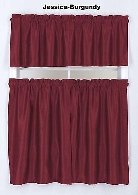 $15.89 • Buy Home 2Tier 36 L+ 1Valance 18 L Blackout Solid Curtain Rod Pocket Small Window.