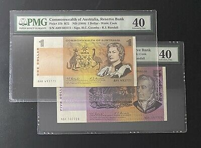 AU61 • Buy 2 X Australian Notes 1 & 5 Dollars PMG40 1967-68 Coombs/Randall No Reserve Rare
