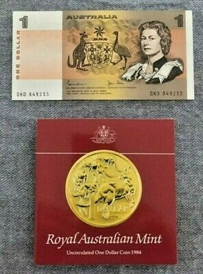 AU9.99 • Buy 1982 Last Issue $1 Johnston & Stone Note And 1984 First $1 RAM Coin Folder - UNC