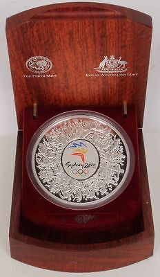 AU1950 • Buy 2000 1kg Coloured Silver $30 Sydney Olympic Coin Wooden Display Case Certificate
