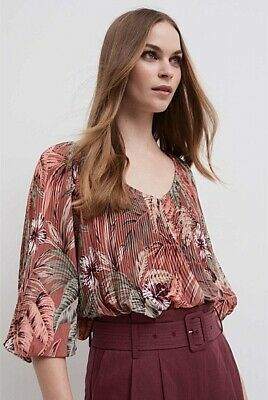 AU20 • Buy WITCHERY Pink Pleated Blouse (Size 16)