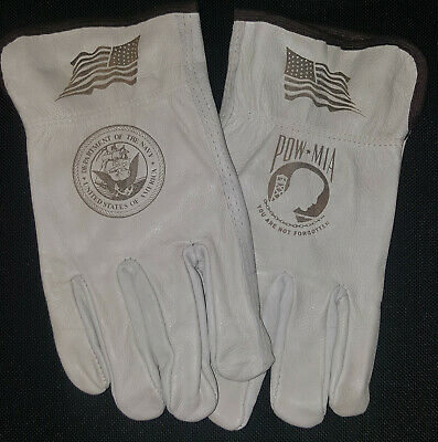 $20 • Buy US Navy / POW-MIA Leather Gloves For Driving Or Working Around The House