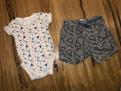 AU7 • Buy Baby Boys Marquise Romper & Pumpkin Patch Shorts Size 0-3 Months (000)