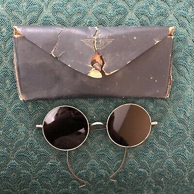 $35 • Buy Vintage 1920's Willson Aviation Sunglasses Goggles Brown Lenses W Original Case