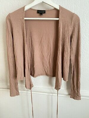 Topshop Dusty Pink Ribbed Wrap Around Top With String Tie • 8£