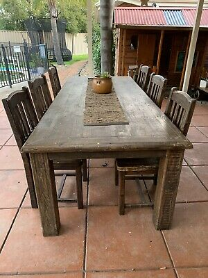 AU450 • Buy Large Timber Dining Table With 6 Chairs