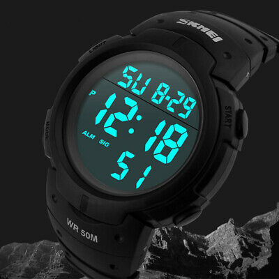 AU17.55 • Buy MENS WATERPROOF SKMEI DIGITAL SPORTS WATCH Waterproof Military Wrist Watch Black