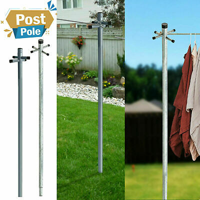 £24.89 • Buy Galvanized 2.4m/2.6m Heavy Duty Clothes Washing Line Post Pole Support W/Socket