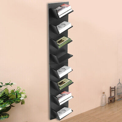 8-Tier Display Stand Book Shelf Wall Rack CDs Storage Bookcase Units Wooden • 33.99£
