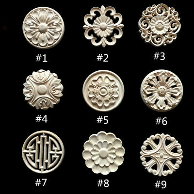$4.29 • Buy Round Wood Carved Applique Frame Onlay Cabinet Furniture Decoration Unpainted#G