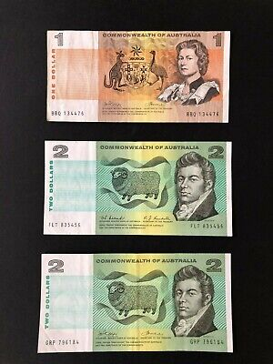 AU12.50 • Buy 3 X Commonwealth Of Australia $1 & $2 Phillips/Wheeler Coombs/Randall Banknotes