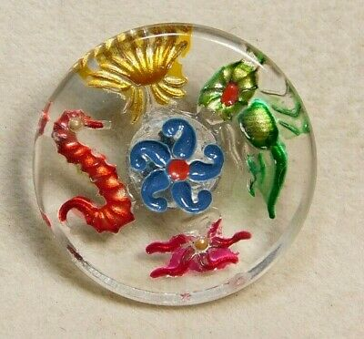 $2.99 • Buy Antique Vtg Button Reverse Painted SEA LIFE On Incised Clear Glass NICE! #E26