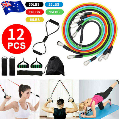 AU23.89 • Buy 12pcs Elastic Resistance Bands Pull Rope Set Home Gym Equipment Workout Fitness