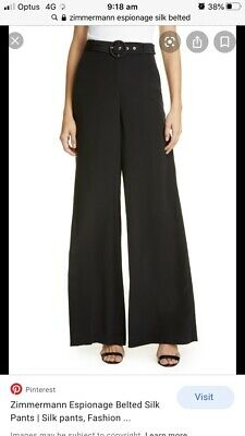 AU81 • Buy SOLD OUT! - WORN TWICE - Zimmermann Espionage Black Silk Belted Pant - Size 0