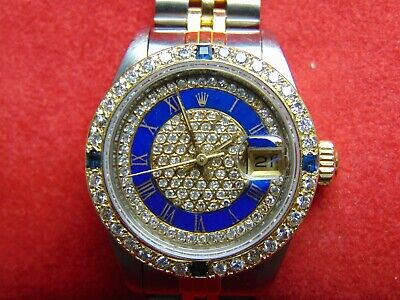 $ CDN4995 • Buy Rolex Ladies Datejust Jubilee 18k Gold/ss Diamond & Sapphires Paved Dial & Bezel