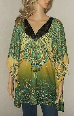 $12.75 • Buy ONE WORLD Live & Let Live L NEW Green Sublimation Poncho Top Knit