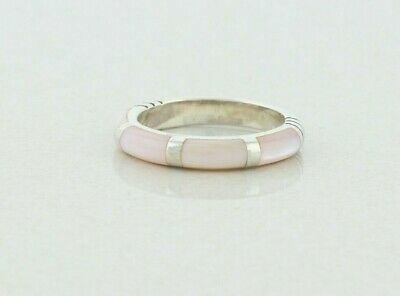 $40 • Buy Sterling Silver Pink Mother Of Pearl Band Ring Size 7.5