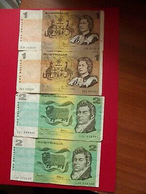AU0.99 • Buy OLD $1 & $2 Dollar Notes - 1982 &1985 - Johnston Stone/Fraser - Circulated Notes